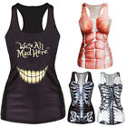 New Women Summer T-shirt Gothic Punk Racerback Tank top Vest 3D Print Camisole