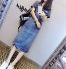 Summer Womens Punk Denim Blue Short Sleeve Loose POLO Collar Long Dress S-XXXL