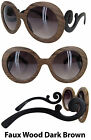 Women's Designer Inspired Large Round Square Frame Sunglasses Baroque Swirl Arms