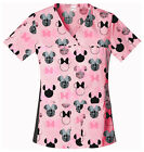 Minnie Mouse Cherokee Tooniforms V Neck Knit Panel Scrub Top 6732c MNJE
