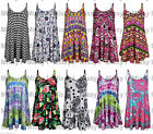 Womens Sleeveless Tie Dye Floral Print Swing Dress Flared Strappy Long Top 8-22