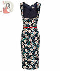 LINDY BOP 50's VANESSA LILY FLORAL WIGGLE PENCIL DRESS