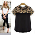 Women Summer Casual Chiffon Blouse Leopard Print Shirt Tops T-Shirt Plus Size