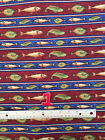 FISH Fishing & Tackle  prints : 100% novelty cotton by the 1/2 metre