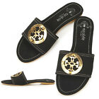 New Lovely Womens Comfort Flats Shoes Black Slippers Sandals