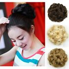 Lady Drawstring Clip In Wavy Curly Bun Short Hairpiece Hair Extension 4 Colors