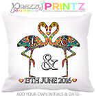 ❤PERSONALISED Flamingo Cushion Wedding Anniversary Gift Valentine Christmas Love