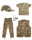 Kids Army BTP Camo Fancy Dress Set Alt MTP Multicam Military Soldier Outfit 1
