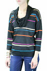 AUGUST SILK Petite's Black Shimmer Cowl Neck 3/4 Sleeve Sweater 010647 $58 NEW