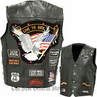 Mens Black Buffalo Leather LED Light Motorcycle Safety Vest with 14 Patches