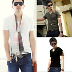 Men Sexy Slim Fit Short Sleeve Round Neck Casual Cotton T-Shirt Base Shirt USLO
