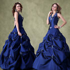 CHEAP BLUE LONG QUINCEANERA EVENING PARTY BALL PROM GOWN FORMAL BRIDESMAID DRESS