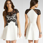 Short Sleeve Women's Lace Splice Cocktail Party Prom Graduation A-Line Dress New