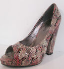 LADIES SPOT ON RED MULTI SNAKESKIN DESIGN COURT SHOES STYLE: F1916