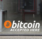 """""""Bitcoin Accepted Here"""" Vinyl Retail Shop Window Sign Decal Cryptocurrency LARGE"""