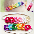 Cute Baby Toddler Girl Satin Colorful Six Flowers Hair Band Elastic Headdress
