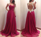 Bridesmaid Womens Backless Lace Prom Ball Cocktail Party Maxi Dress Evening Gown