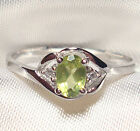 Genuine Green Peridot .925 Sterling Silver Ring -- PD720