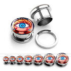 2x Punk Blue Evil Eye Steel Screwed Tunnels Ear Plugs Expander Stretching Gift