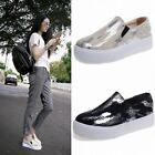 women fashion color stitching stretchy strap slip on collegiate oxfords shoes Sz