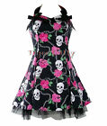 HEARTS & ROSES H&R SKULL & ROSE MINI DRESS BLACK PINK