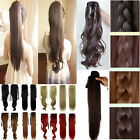 UK Real as Human Hair Clip In Hair Extensions 3 Styles 3 All colors Ponytail 5I1