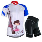 Women's Cycling Bicycle Bike Jacket 3D Padded Jersey Tops & Shorts Set Suit S-XL
