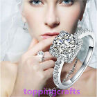 Women's Exclusive Shining Silver Plated Crystal Engagement Wedding Jewelry Ring