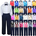23 Color 4pc Boys Suit Vest Sets Baby Toddler Kids Formal Navy Bow Tie Pants S-7
