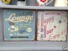 Shabby Vintage Chic Metal Wall Plaques Happy Hour Cocktail Lounge Tin Signs