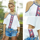 Fashion Women Girl Loose T-Shirt Sexy Cut Out Shoulder Blouse Shirt Tops Clothes