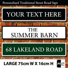 Personalised Traditional Street Road Sign, Choice of 3 Colours LARGE