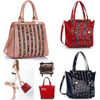 Ladies Women's Fashion Patent Bag With Animal Print Strips Tote Bags Gorgeous