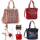 Ladies Women's Fashion Patent Bag With Animal Print Strips Tote Bags Leopard