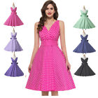 New LADIES 50s 60s DRESS V-Neck Retro Vintage Swing Party Prom Dress