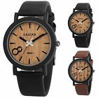 Fashion Ladies Women's Wooden Dial Quartz Analog Leather Bracelet Wrist Watch