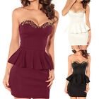 Lady Dress Sexy V Neck Studs Punk Off Shoulder Sleeveless Ruffle Evening Club