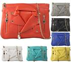 LADIES LEATHER BIKER JACKET STYLE CLUTCH BAG EVENING BAG ROCK CHIC HANDBAG
