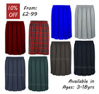 Ages 2-18 Girls School Skirt Box Pleated Formal All Around Elasticated Black