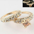 2PCS 18K Gold Filled Round Cut Wedding Engagement Solid Ring Set Size 7 8 9