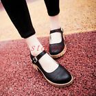 Womens Punched Details Chunky Heel Oxfords Pumps Ankle Strap Mary Janes Shoes Sz