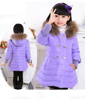 2015 Kids Girls Fur collar Thicken long section Down Jacket 4 Color size 4-9Y