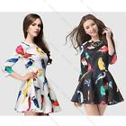 Elegant Women Bird Printed Casual Party Evening Cocktail Short Mini Dress New