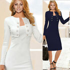Womens Vintage Bodycon Slim Fit Office Work Party Cocktail Evening Pencil Dress