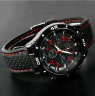 New Fashion Black Band Sport Casual GT Quartz Men Boy Wrist Watch Watches Red image
