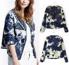 Retro Blue Beige Tie-Dye Sequin Embroidery Short Quilted Jacket Thin Padded Coat