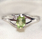 Genuine Faceted Oval Green Peridot .925 Sterling Silver Ring -- PD859