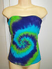 LADIES TIE DYE DYED BLUE NAVY & GREEN STRAPLESS TOP BOOBTUBE BY SUPRE SIZE LARGE