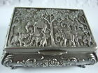 stunning tibet silver carved elephant&Rose jewelry box