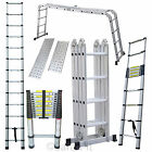 4.7M 3.8M Multi Purpose Aluminium Telescopic Foldable Extension Ladder Step Tray
